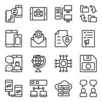 paquete de dispositivos e iconos lineales de tecnología. vector