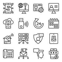 paquete de iconos lineales de comunicación, tecnología y dispositivos. vector