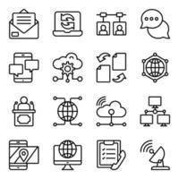paquete de iconos lineales de nube, tecnología y redes. vector