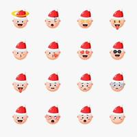 Boy wearing Christmas hat with emoticon set vector