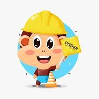 Cute monkey mascot working in construction vector