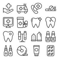 paquete de iconos lineales de accesorios médicos vector