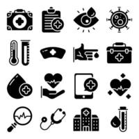 Pack of Medical Solid Icons vector