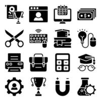 Pack of Educational Accessories Solid Icons vector