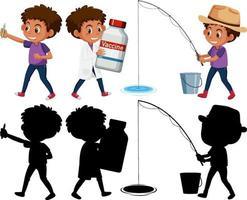 conjunto de un niño haciendo diferentes actividades. vector