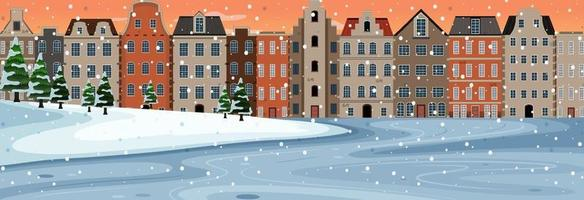 Snow falling horizontal scene at sunset time with suburban buildings background vector