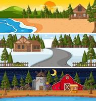 Set of different nature horizontal scenes vector