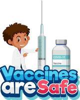 la vacuna es una fuente segura con un médico sosteniendo una jeringa de vacuna vector