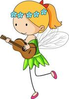 Simple cartoon character of a little fairy playing ukulele vector