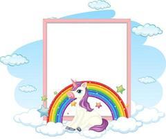 Banner en blanco con lindo personaje de dibujos animados de pegaso aislado sobre fondo blanco. vector