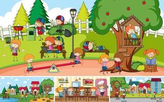 escena al aire libre con muchos niños doodle personaje de dibujos animados vector