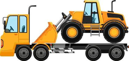 Tow truck carrying bulldozer isolated background vector