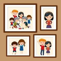 Set of happy family pictures in frames cartoon style vector