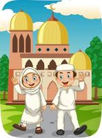 Muslim sister and brother cartoon character with mosque vector