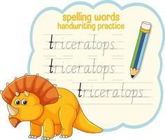 Spelling words dinosaur handwriting practice worksheet vector
