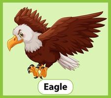 tarjeta de palabra inglesa educativa del águila vector