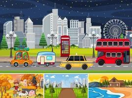 Cuatro escenas diferentes con personajes de dibujos animados infantiles y escenas de la ciudad. vector