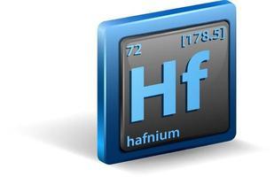 elemento químico de hafnio. símbolo químico con número atómico y masa atómica. vector