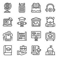 paquete de iconos lineales de conocimiento vector