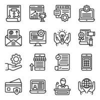 paquete de iconos lineales de negocios en línea vector