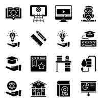 Pack of Modern Learning Solid Icons vector