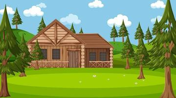 In front of wooden house in nature scene vector
