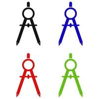 Set Of School Compasses On White Background vector