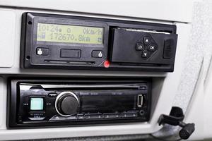 Olomouc, Czech Republic 2021- Digital tachograph with a printer popped out photo