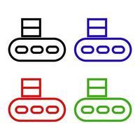 Conjunto de cintas transportadoras sobre fondo blanco. vector