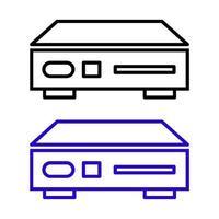 Conjunto de reproductor de DVD sobre fondo blanco. vector