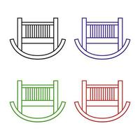 Cot Set On White Background vector