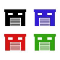 Garage Set On White Background vector