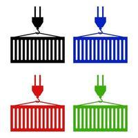 Conjunto de contenedores de carga sobre fondo blanco. vector