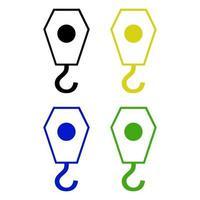 Set Of Crane Hook On White Background vector