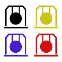 Gong Set On White Background vector