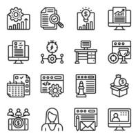 paquete de iconos lineales de gestión empresarial vector