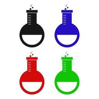 Set Of Laboratory Flask On White Background vector