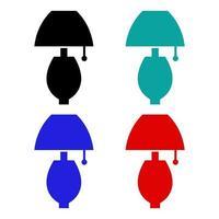 Set Of Bedside Lamp On White Background vector