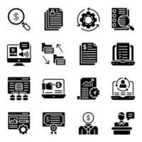 paquete de iconos sólidos de e business vector