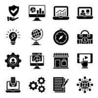 paquete de iconos sólidos de negocios y comercio vector