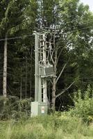 Jesenik, Czech Republic 2017- Damaged electric distribution transformer in the Czech Republic photo