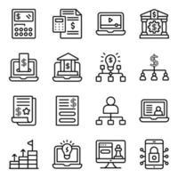 paquete de iconos lineales de negocios y estadísticas vector