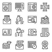 paquete de iconos lineales de negocios y seo vector