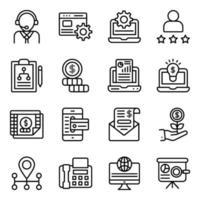 paquete de iconos lineales de análisis empresarial vector