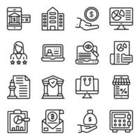 paquete de iconos lineales de negocios y banca vector