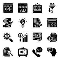 paquete de iconos sólidos de marketing digital vector