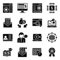 paquete de iconos sólidos de negocios y seo vector