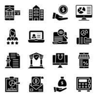 paquete de iconos sólidos de negocios y banca vector