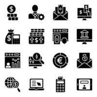 paquete de iconos sólidos de finanzas y datos vector
