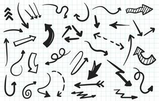 Hand drawn arrows doodle collection vector